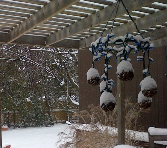 snow accumulated on the outdoor chandelier