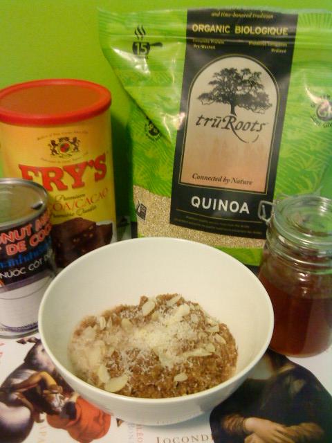 Fixin's for chocolate-macaroon breakfast quinoa