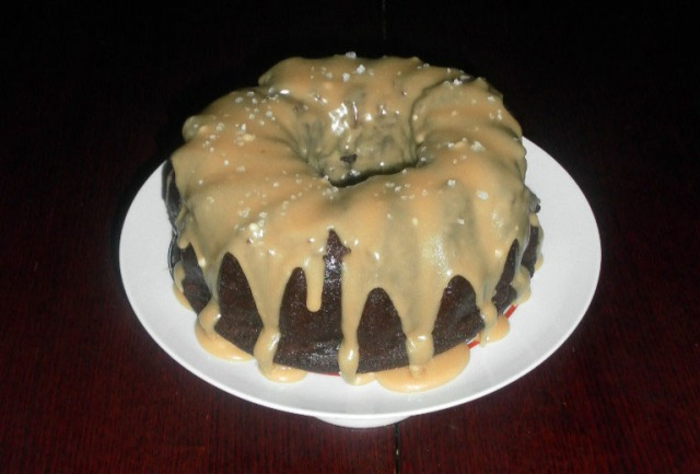 Chocolate Guinness Cake with salted caramel drizzle