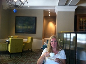 enjoying the coffee at Chateau Laurier